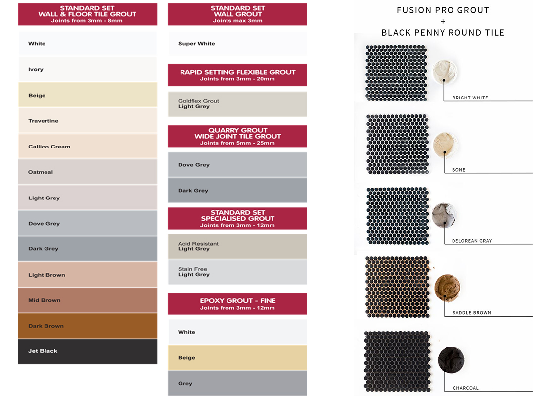 TAL Grout Colour Sheet